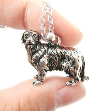 Realistic Golden Retriever Puppy Pendant in Shiny Silver   Jewelry for Dog Lovers