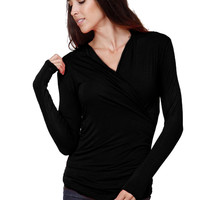 Long Sleeve Wrap Front Knit Top