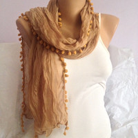 Brown Pompom Scarf - Long Scarf Shawl - Soft Cotton Pompom  Lace Scarf  - Lightweight Women Scarf Accessories