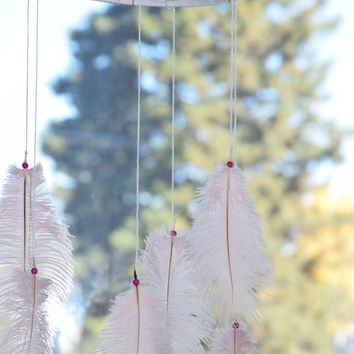 "10"" Boho Dreamcatcher Mobile, Baby Pink Dream catcher Mobile Large Dreamcatcher,Nursery Mobile, Ostrich Feathers, Turquoise stone"