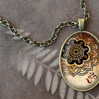 OM Necklace, Henna Tattoo Pendant, Yoga Jewelry, Oval Necklace (1550B)