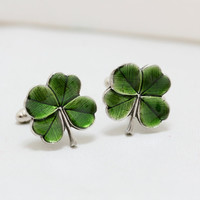 Four Leaf Clover Cufflinks Men's Cufflinks Irish Shamrock Steampunk Irish Wedding Men's Accessories Gift Boxed
