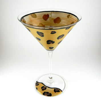 Cheetah print martini glass, hand painted