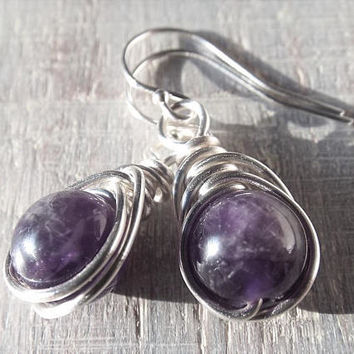 Sterling Silver Amethyst Earrings, Amethyst Dangle Earrings, Purple Stone Earrings, Dark Purple Earrings, Gothic Earrings, February