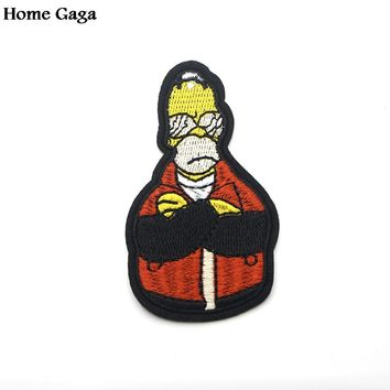 Homegaga Simpsons cartoon Applique patches Punk stickers sewing bag jersey clothing para DIY jacket badges iron on t-shirt D0889