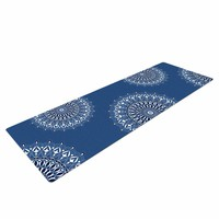 "KESS InHouse Yoga Mat Julia Grifol ""Blue Harmony"" Blue White Digital Yoga Mat, 72"" x 24"""
