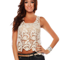 Papaya Clothing Online :: CROCHET FRONT SHEER BACK HIGH-LOW TANK
