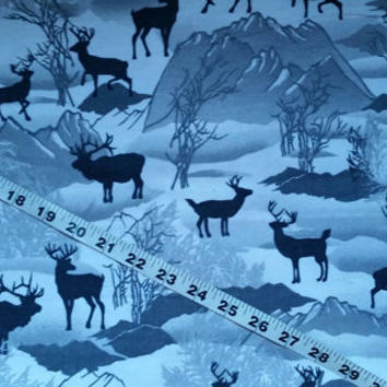 Winter Flannel fabric with deer elk wildlife scene nature cotton print quilt sewing material to sew by the yard BTY crafting project