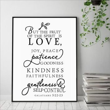 Galatians Quote Canvas Art Print Poster Wall Picture , Love Joy Peace Wall Art Canvas Painting Prints Christian Home Decor