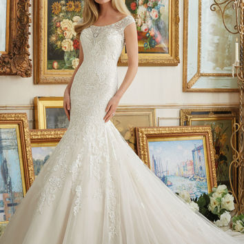 Beaded Neckline Meets Embroidery on Tulle | Style 2891 | Morilee
