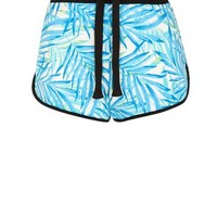 Blue Tropical Print Runner Shorts
