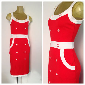Red Wiggle Dress White Trim Sailor Buttons Sleeveless Nautical Bombshell Style Vintage Dress Preppy Sexy Bodycon Country Club Pockets 6