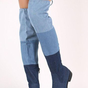 DCK7YE Colorblock Denim Drawstring-Tie Over-The-Knee Riding Boots