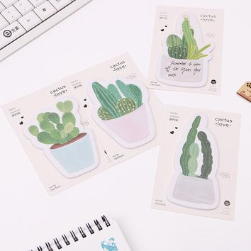 2PCS/lot Cactus Love Succulent Plants Post It N Times Irregular Memo Pads Student Sticky Notes School Label Gift