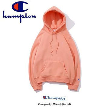 Champion 2018 autumn new tide brand classic embroidery logo plus velvet hoodie sweater Pink