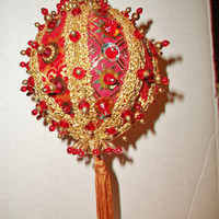Red Beaded Christmas Ornament Vintage Ornate Sequinned Fabric Retro Holiday Home Decor