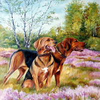 Large realistic LANDSCAPE, DOG PORTRAIT from photos, Original painting, Pet portrait on request, Personalised  memorial