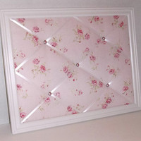 Shabby Chic Pink Rose on Pink fabric ~ White Wood Frame Memo Board by ToileChicBoutique