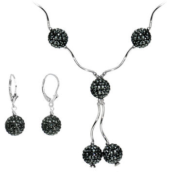 Sterling Silver Jet Crystal Ball Drop Necklace and Earring Set