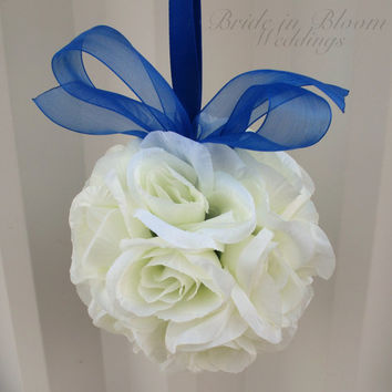 Wedding flower balls pomander royal blue Wedding decorations Ceremony Aisle pew markers