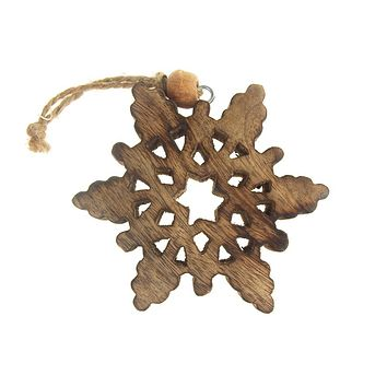 Hanging Wood Celestial Snowflake Christmas Tree Ornament, Natural, 4-Inch