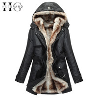 HEE GRAND 2016 Women Winter Coats And Jackets Faux Fur Woman Warm Parka Hood Coat Plus Size 3XL Oversized Basic Jacket WWM056