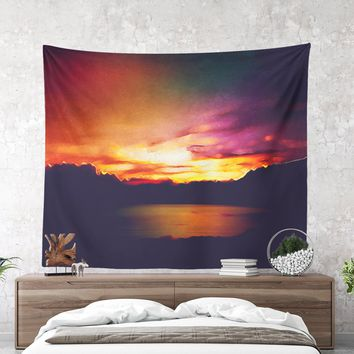 Colorful Wall Tapestry With Artsy Abstract Nature Print, Nature Tapestry, Landscape, Wall Art, Wall Decor, Wanderlust, Boho, Dorm Room, Gift