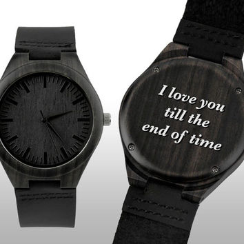 Engraved Watch, Wood Watch, Engraved Wood Watch, Wooden Watch, Ebony Wood, Leather Strap, Customized, Personalized Gift