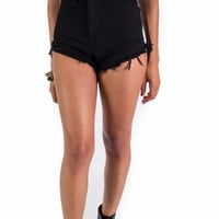 Black High Waist Denim Cutoff Shorts