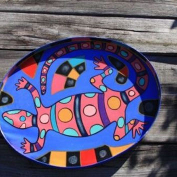 Vintage Lizard Tray Handpainted Bright Colors Gecko Decorative