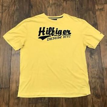 Tommy Hilfiger Denim Yellow Applique Embroidered Tee Shirt Mens Streetwear XL
