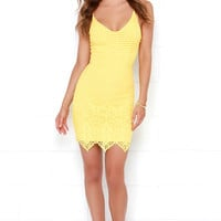 Midsummer Dreamin' Yellow Lace Dress