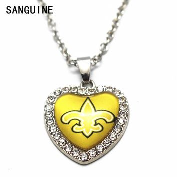 1pcs New Orleans Saints 50cm Chain Necklace Silver Heart Crystal sports Football Glass Pendant Necklace For Women Long Necklace