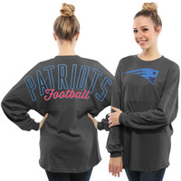Women's New England Patriots Pro Line Charcoal Powder Puff Long Sleeve T-Shirt