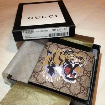 One-nice™ NWT Men Gucci GG Monogram Leather Wallet