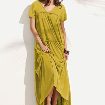 Yellow Double V-Neck Short Sleeve Frilled Tent Dress
