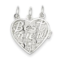 Sterling Silver Best Friends 3-Piece Break Apart Heart Charm 18mm - Made in USA - JewelryWeb