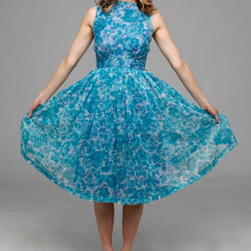 Moonlight Dance dress | vintage 1950s dress • blue floral 50s dress