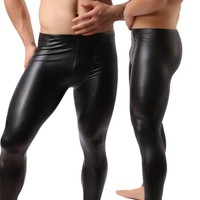Fashion Mens Black Leather Pants Long Trousers Sexy