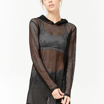 Active Fishnet Hooded Top