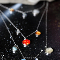 Layered Solar System Galaxy Necklace - Elegant, Unique Space Jewelry - 14k Gold or Sterling Silver - Planets, Sun, Earth, Milky Way