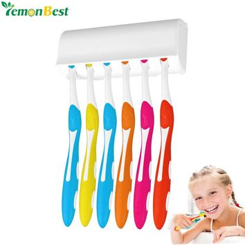 Wall Mount Toothbrush Holder Stand For 6 Toothbrushs With Cover Double-sided Tape Easy Installation Bathroom Set Accessories