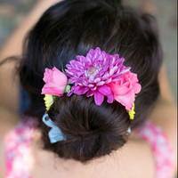 Vivid, colorful, flower bun wrap, flower crown, flower halo, flowergirl, flower child, hippie, boho, bohemian, chic, coachella, festival