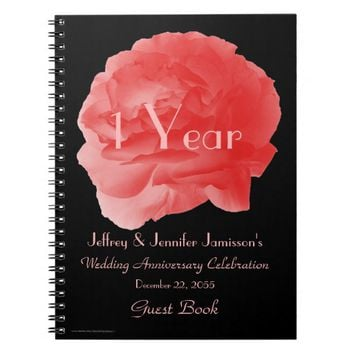 1st Anniversary Party Guest Book, Coral Rose Notebook