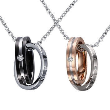 Men's Fashion Popular Jewelry Gold / Black Double Circle Stainless Steel Dumbbell Pendant Necklace Cool Man Charm Accessorie