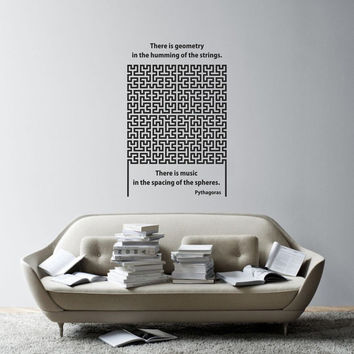 Science art mathematics- Pythagoras quote on geometry and Hilbert curve vinyl wall decal / sticker for your classroom scientific decor