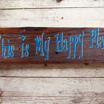 Family Inspirational Signs and Sayings, Rustic Wood Wall Decor Quotes, This is My Happy Place