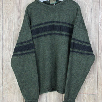 Great Carraig Donn Sweater M size Green Black Ireland Wool Soft Mens Outdoor Ski