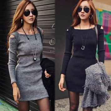 Women Sexy Open Shoulder Long Sleeve BodyCon Slim Party Pinup Evening Mini Dress 19431 One Size Vestidos = 1956857732