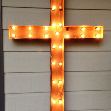 Lighted Cross, Marquee 32 in. tall. Sale price! Striking, pretty, festive, clear white lights and rustic finish